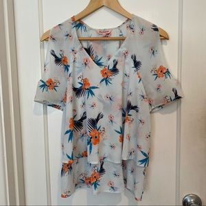 Juicy Couture Tiered Cold Shoulder Floral Top